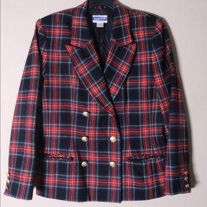 Pendleton Womens Blazer Jacket Red Black Plaid 10